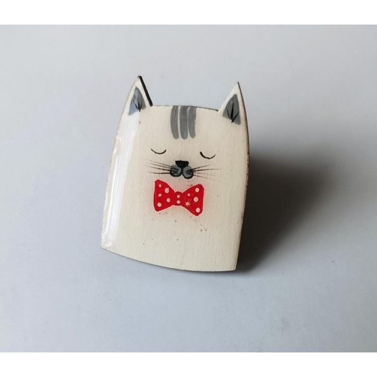 Брошь «Котик белый»