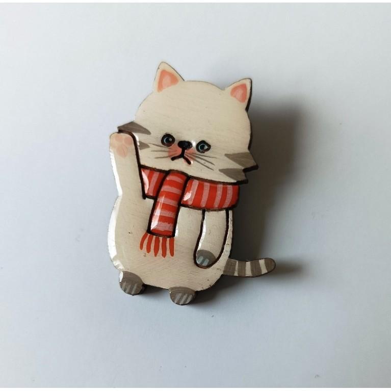 Брошь «Котик с шарфиком»