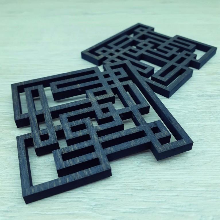 "Подставка под кружку ""Геометрия"" черная   #byetno"