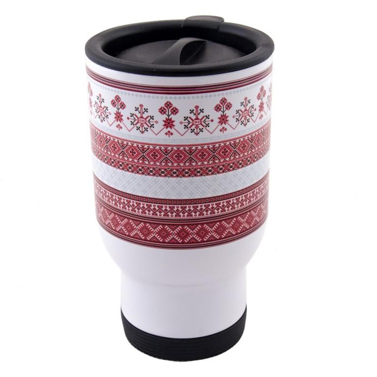"Термокружка ""Белорусский орнамент"" белая | #byetno"