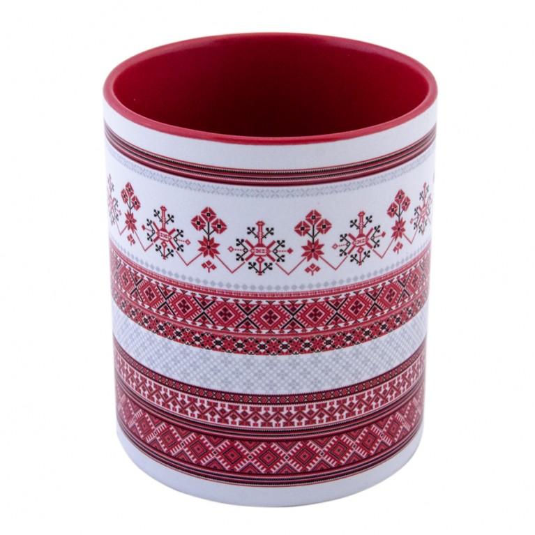 "Кружка ""Белорусский орнамент"" красная | #byetno"